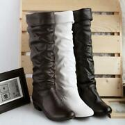 Women's Knee High Long Boots Faux Leather Winter Flat Low Heels Boot Shoes New