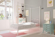 Twin Canopy Bed For Girls White Metal Frame Headboard Teen Child Kids Bedroom