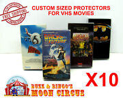 10x Standard Vhs Movie Size A Clear Plastic Protective Box Protectors Sleeve