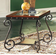 Accent Side End Table Glass Top Cherry Wood Trim Metal Scroll Wrought Iron Legs