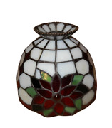 Vintage Jeweled Red Green And White Stained Glass Style Small Lamp Shade