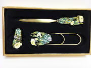 New Enamel Flowers Czech Crystal Letter Opener And Staple Remover Large Paper Clip