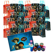 30pcs Coco Disney Pixar Birthday Party Supply Favor Gift Bags Goodie W/ Stampers