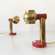 Set Of Two Mid Century Modern Bedside Table Lamps Brass 1950s Sweden