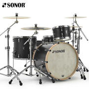Sonor Sq1 Series 22 3pcs Drum Shell Pack Gt Black W/ Natural Hoops Sq1-322nmcgt