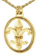 New Menand039s 1 1/2in 10k Yellow Gold Fleur-de-lis Braided Pendant Necklace