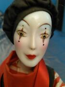 Antique Vintage Doll Figure Sad Clown Actor Drama Tragedy With Stand