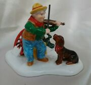 Dept 56 Man Playing Violin For Dog Figurine, Has Bow And Label Excellent Cond.