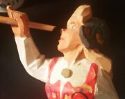 2 Henning Norway Folk Art And Crafts Wood Carving Girl Trumpet Horn Violin Statue