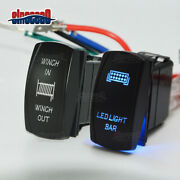 Blue Light Bar+7pin Winch In/out Control Rocker Toggle Switch Atv Polaris Can-am