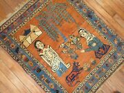Antique Kurdish Pictorial Love Story Rug Size 2and0396and039and039x3and0391and039