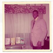 Vintage 70s Photo Black Man In Suit And Tie W/ Greeting Cards