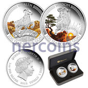 Tuvalu 2015 Good Fortune Lunar Goat 2-coin Set Pure Silver Proof Color Perfect