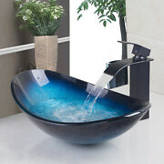 Fa Bathroom Blue Tempered Glass Vessel Sink Waterfall Faucet Pop Drain Tap Combo