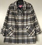 Woman Within Plus Size 30w Wool Blend Plaid Coat Winter Jacket Double Button New
