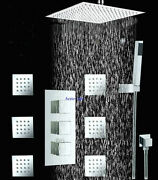 24'' Thermostatic Stainless Shower Head Mixer Brass Body And Massage Spray Jets