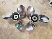 New Pair Of 15 1/4 X 19p Suzuki Stainless Props Fits Yamaha Also 1917 1918