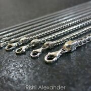Real 925 Sterling Silver Square Franco Mens Boys Chain Necklace Made In Italy