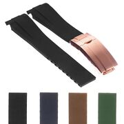 Strapsco Silicone Rubber Watch Band Strap W/ Rose Gold Clasp 20mm