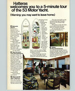 1972 Paper Ad 2 Pg Hatteras 53 Motor Yacht Boat Guest Bow Stateroom