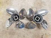 New Pair Of 4 Blade 14 1/4 X 17p Evinrude Johnson Cyclone Ss Props 1966 1967