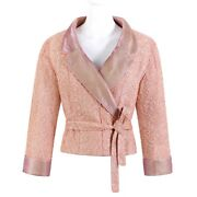 Nwt Vtg Salmon Pink Boucle Tie Wrap Cropped Sweater Jacket S/s 1999 Fr-38
