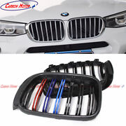 For Bmw X3 F25 X4 F26 Carbon Fiber Front Grille Dual-slats With Tri-color Grids