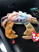 Rare Claude The Crab Original Ty Beanie Baby With Errors On Tag Unique Dye 1996