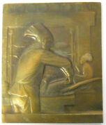 France Chef In Kitchen Cooking Gastronomy Bronze Studio Model 133x162mm By Grun