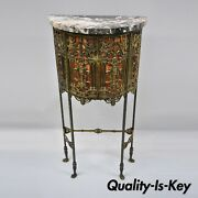 Figural Bronze And Iron Marble Telephone Stand Console Hall Table Attr. Oscar Bach