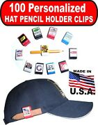 Pencil Holder 100 White Hat Clips Personalized Custom Logo Company Advertising