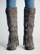 Womens Real Suede Tassels Back Zipper Knee High Boots Gladiators Flat Shoes Size