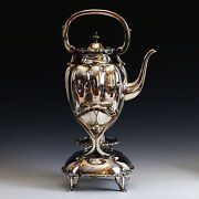 925 Sterling Silver Tea Kettle Pot Stand And Spoon With Spirit Burner Mexico Ocm