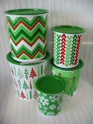 Tupperware One Touch Canisters 5pc Set Jolly Holiday Christmas 2013 Vintage New