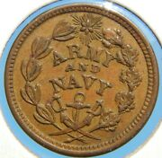 1863 Army And Navy Federal Union Civil War Token Nice High Grade Coin