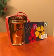 Starbucks Shiny Gold Limited Edition Ornament With Gift Card