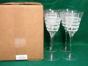 Vietri Optical Swirl Water Goblets Set Of Four Mint In Box More Item Available