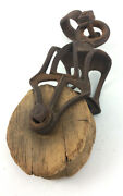 Antique Cast Iron And Wood Barn Pulley Block Tackle Mht Ok