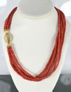 8500 Vintage Six Strand Red Round Coral 18k Yellow Gold Push Clasp Necklace