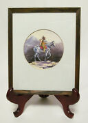 Sharon Sharpe 1976 Indian Squaw W/ Papoose On Horse Framed Original Watercolor