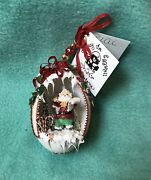 """2004 Hand Carved Goose Egg Christmas Collectible Ornament """"santa Claus""""by Carlen"""