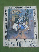 George Luttrell Ii Signed Poster Litho - Le Mardi Gras Basin Street Jazz 1988