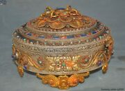 9silver Filigree Inlay Turquoise Red Coral Lapis Lazuli Vajra Jewelry Box Boxes