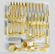 S Kirk Son Gold Over Sterling Silver Flatware - Repousse - Service 12