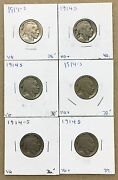 1914-s Buffalo Nickel Lot Of 6 Most Vg Scarce Date To Add To Sets On Sale