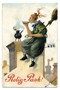 Adele Soderberg Easter Witch 1910 Chimney Broomstick Teapot 7x5 Inch Print