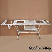 Vtg Wrought Iron Industrial Steampunk Rolling Bar Cart Bbq Pit Table Metal Mesh