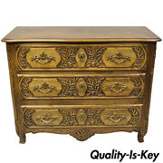 Baker French Country Provincial Style Carved Oak Wood Chest Of Drawers