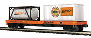 Mth Premier O Trains 550911 Bnsf Flat Car W' 20' Container And A Tank 20-95294