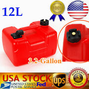 Marine 3.2 Gallon Reinforced Portable Outboard Boat Fuel Gas Tank W/connector Us